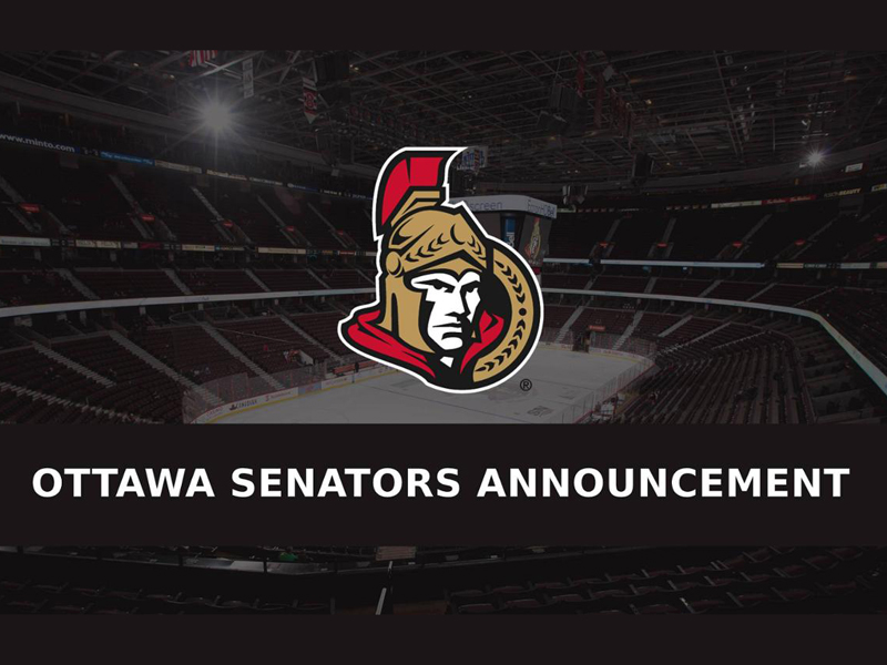 A second Sens player tests positive for COVID-19